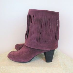 Born Wine Suede Fringe High Heel Boots 8.5
